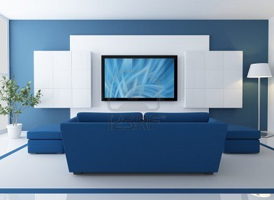 8612448-blue-and-white-lounge-with-lcd-tv--rendering--the-image-on-screen-is-a-my-composition